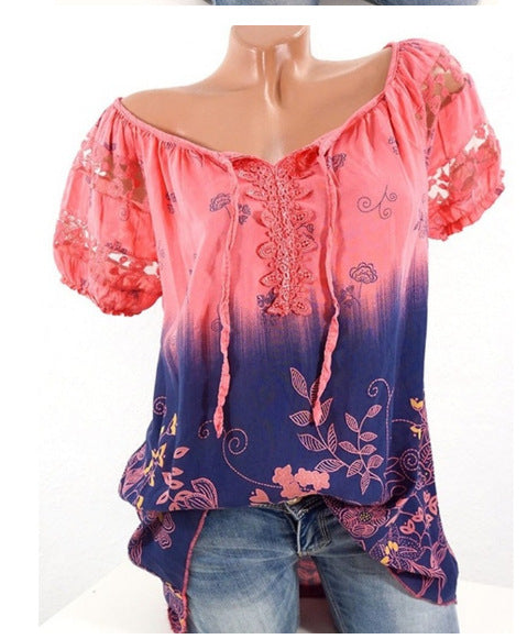 Women's Floral Printed Short Sleeve Off Shoulder Top T-shirt Blouse S - XXXXXL