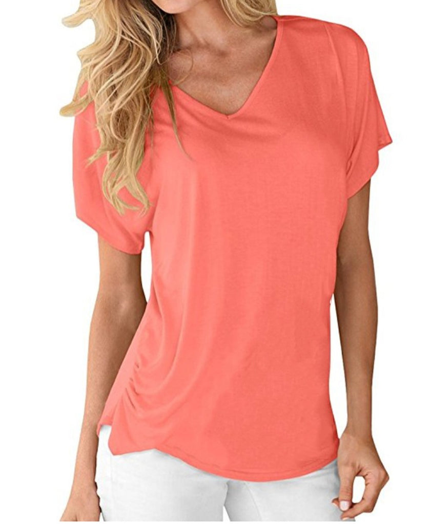 Women's Simple V-neck Short Sleeve Tops T-shirts