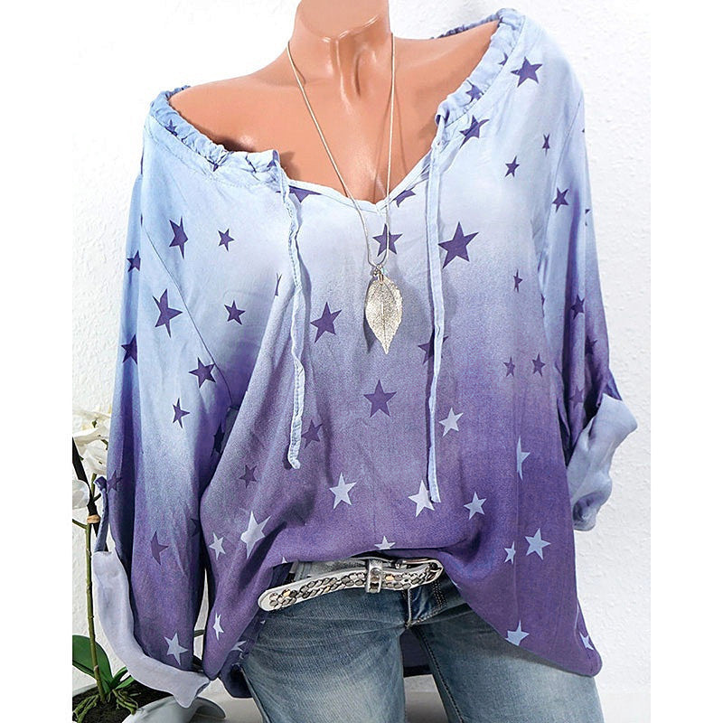 Women Fashion Long Sleeve Stars Printed T-shirt Blouse Tops S - XXXXXL