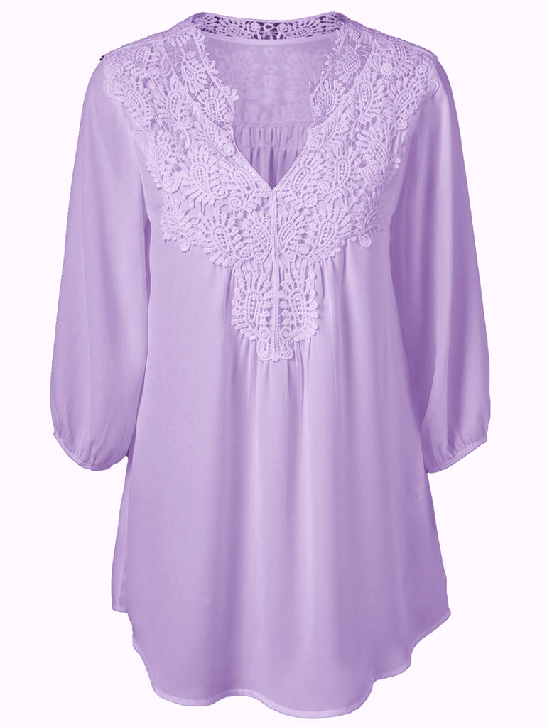 Long Sleeve V-neck Lace Stitching Tops L-XXXXXL