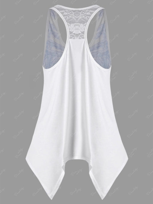 Women's Fashion Floral Printed Lace Stitching Sleeveless Tank Tops S - XXXXXL