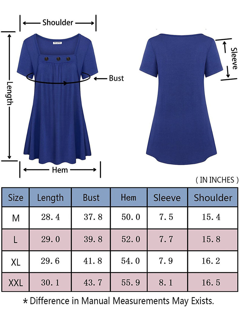 Chic Square Neck Short Sleeve Summer Tops T-Shirts With Buttons M-XXL