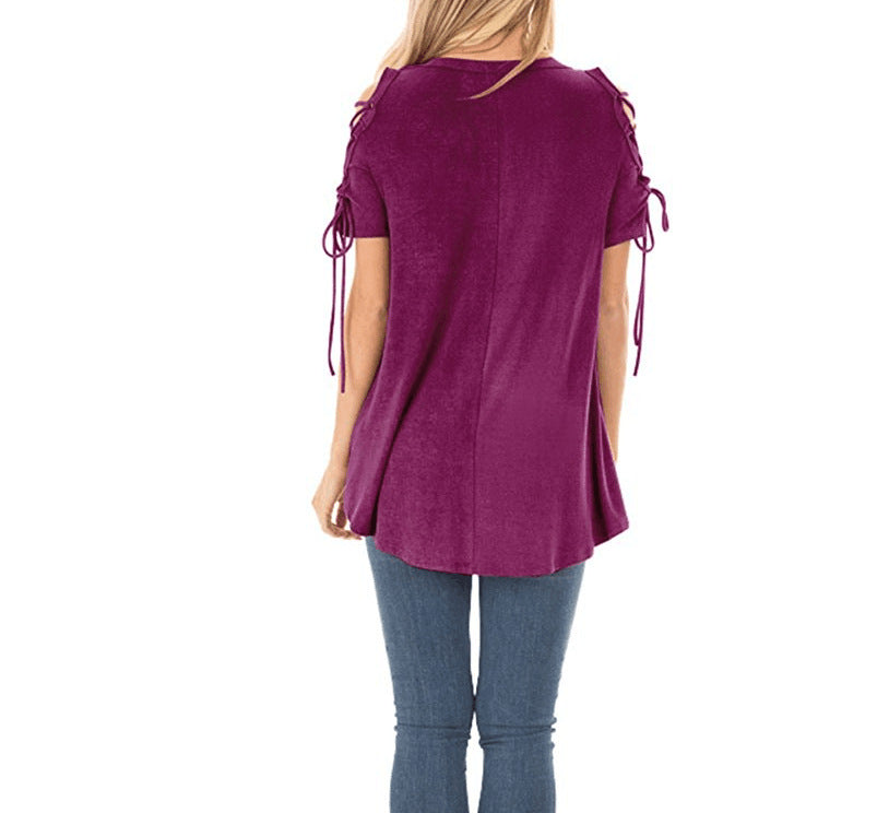 Chic Women's Cold Shoulder O-neck T-Shirt Tops S - XXL