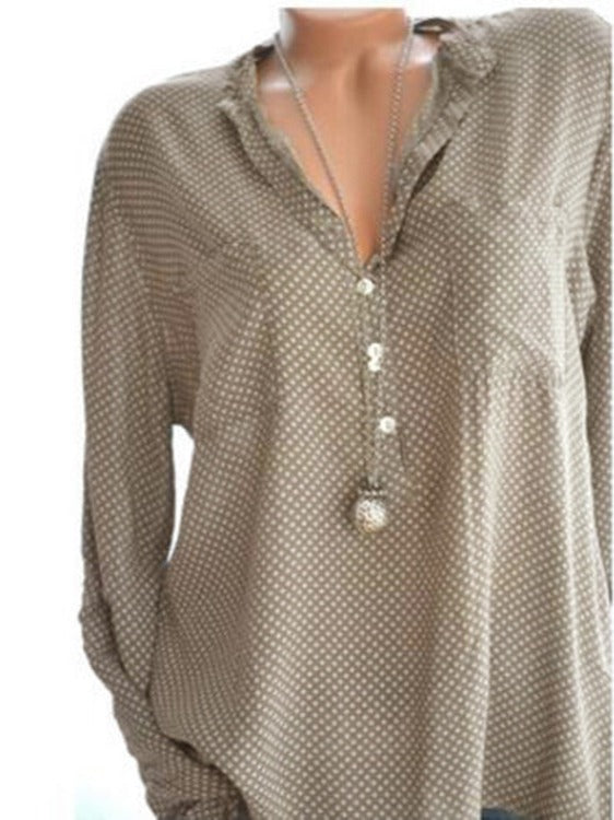 Best Selling Casual Polka Dot Long Sleeve Blouse Tops M - XXXXXL