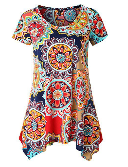 Chic Printed Short Sleeve Irregular Hem T-shirts Tops