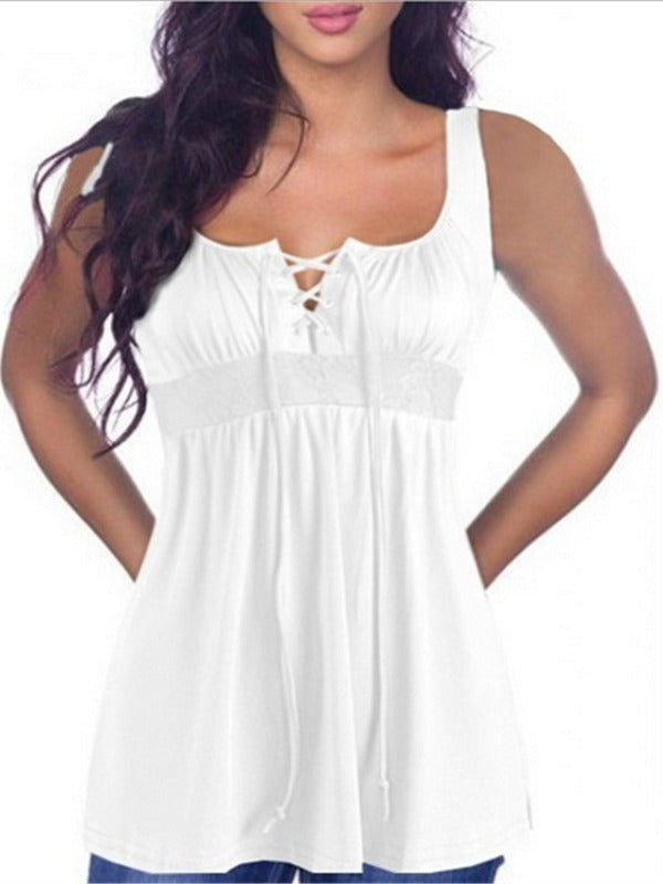 Women Lace Up V-neck Sleeveless Tops S - XXXXXL