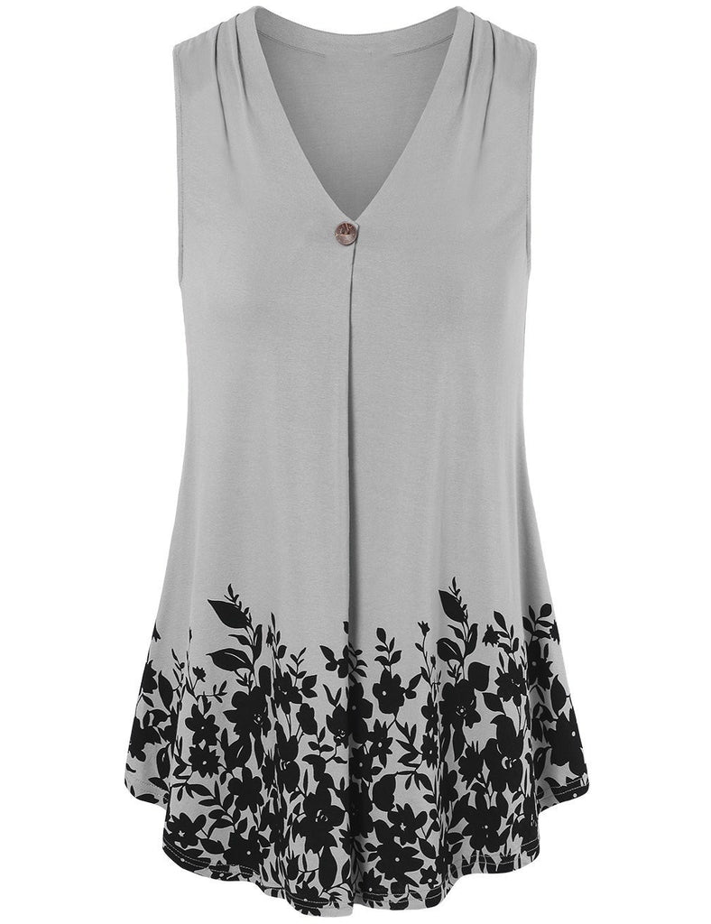 High Quality Printed V-neck Sleeveless Tops S - XXXXXL