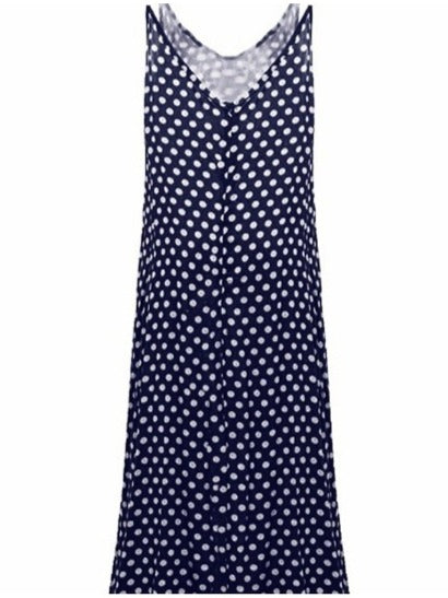 Fashion Polka Dot Printed Sleeveless V-neck Maxi Dress S - XXXXXL