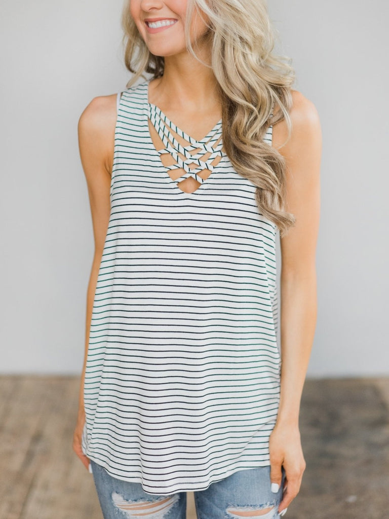 Striped Sleeveless Tops Vest S - XXL