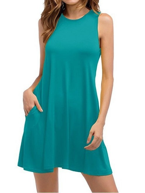 Sleeveless O-neck Dresses With Pockets S - XXXXXL