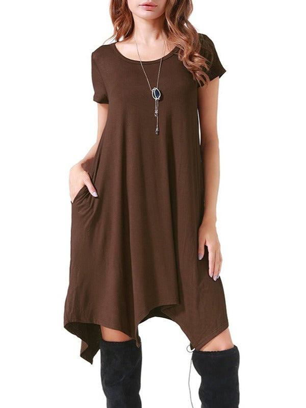 Chic Women Short Sleeve O-neck Dress With Pockets