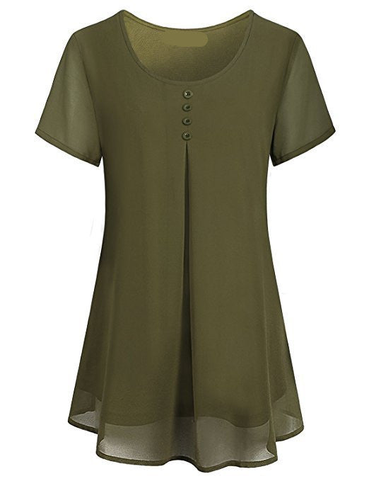 Women's Summer Layered Crew Neck Pleated Soft Chiffon Short Sleeve Blouse Tops