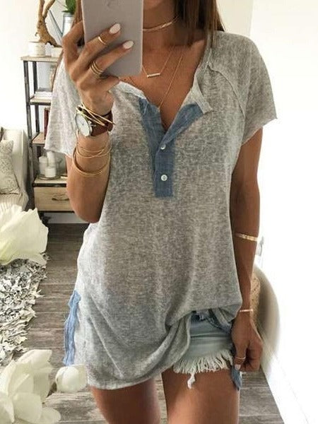 Women Cotton Short Sleeve Loose Casual Button Blouse T Shirt Tank Tops S - XXXXXL