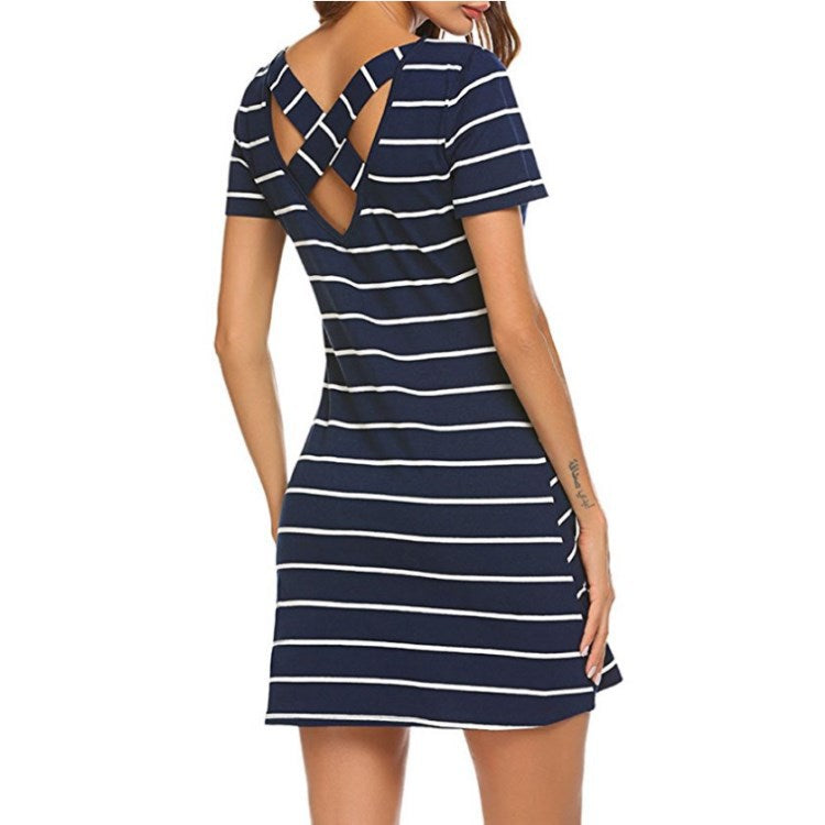 Striped Short Sleeve Bandage Back Dress With Pockets