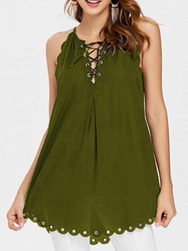 Chiffon Sleeveless Lace Up Tops T-shirts Blouse S - XXXXXL