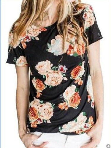 Ramdon Floral Printed Short Sleeve T-shirts Tops