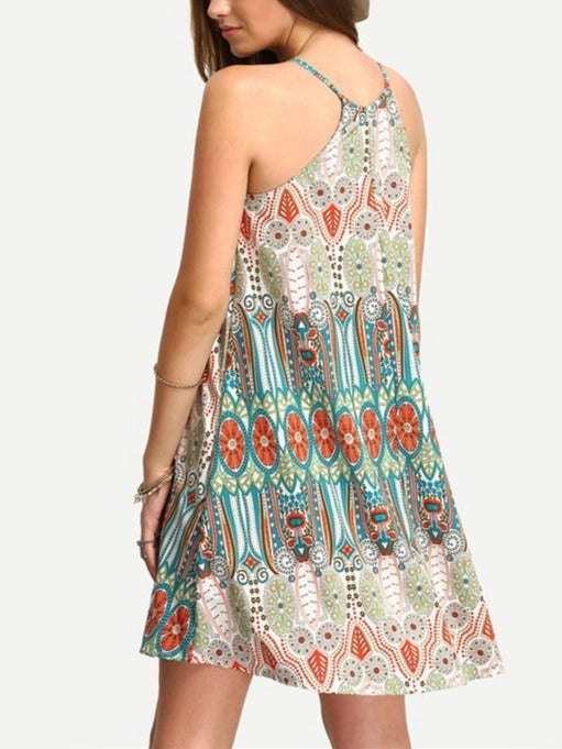 Plus Size Printed Sleeveless Summer Spaghetti Strap Dress