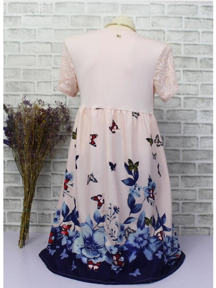 Floral Printed Short Sleeve Lace Stitching Dresses S - XXXXXL 6 Colors