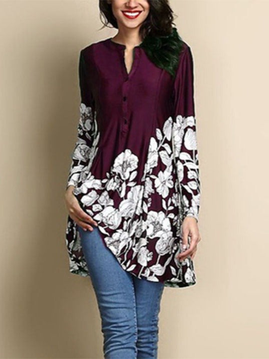 Long Sleeve Floral Printed Blouse Tops