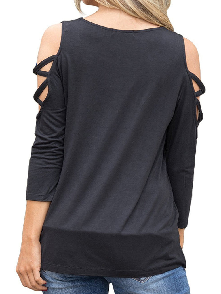 Long Sleeve O-neck Cold Shoulder Tops T-shirts