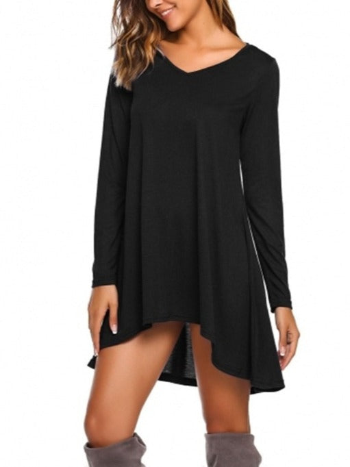 Women's Long Sleeve V-neck Dress