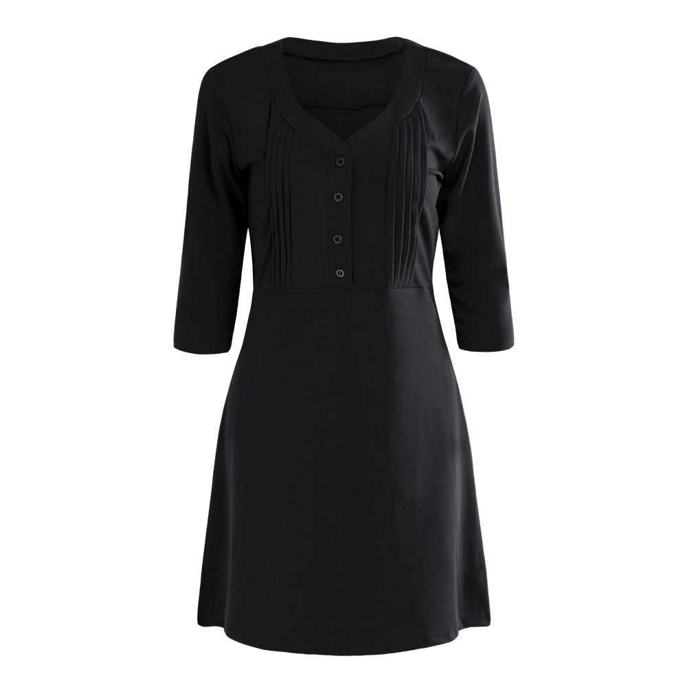 3/4 Sleeve V-neck Dress