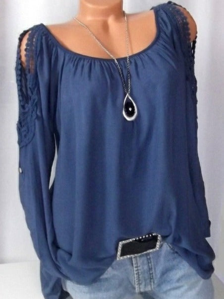 Women's Fashion Long Sleeve Cold Shoulder Tops S - XXXXXL