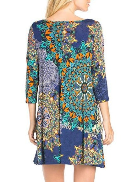 Chic Printed 3/4 Long Sleeve Dress