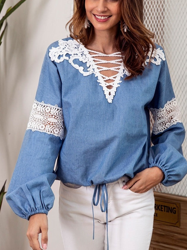 Women's Fashion Lace Stitching Long Sleeve Tops Blouse