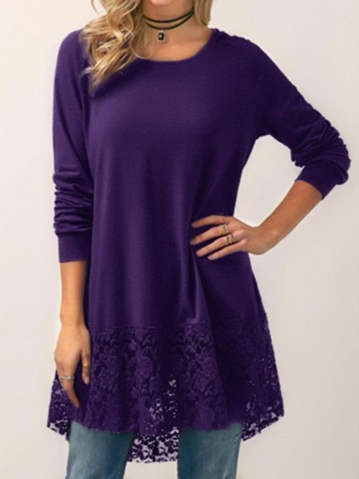Women's Chic Lace Stitching Long Sleeve Hooded T-shirt Tops