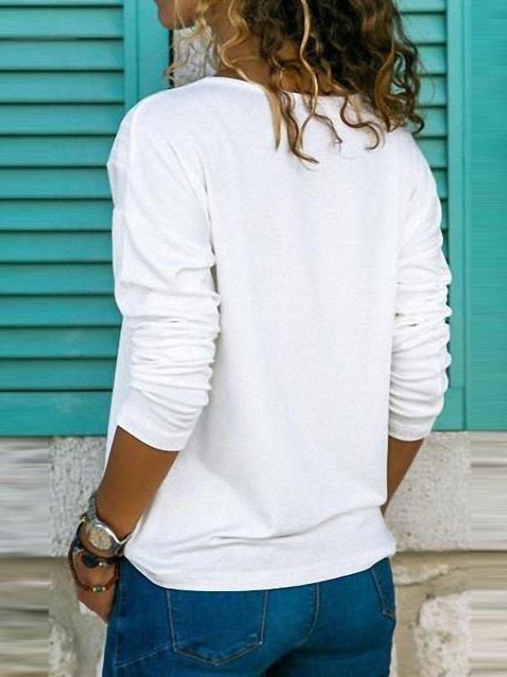 Women's Long Sleeve V-neck Tops T-shirts Blouse S - XXXXXL