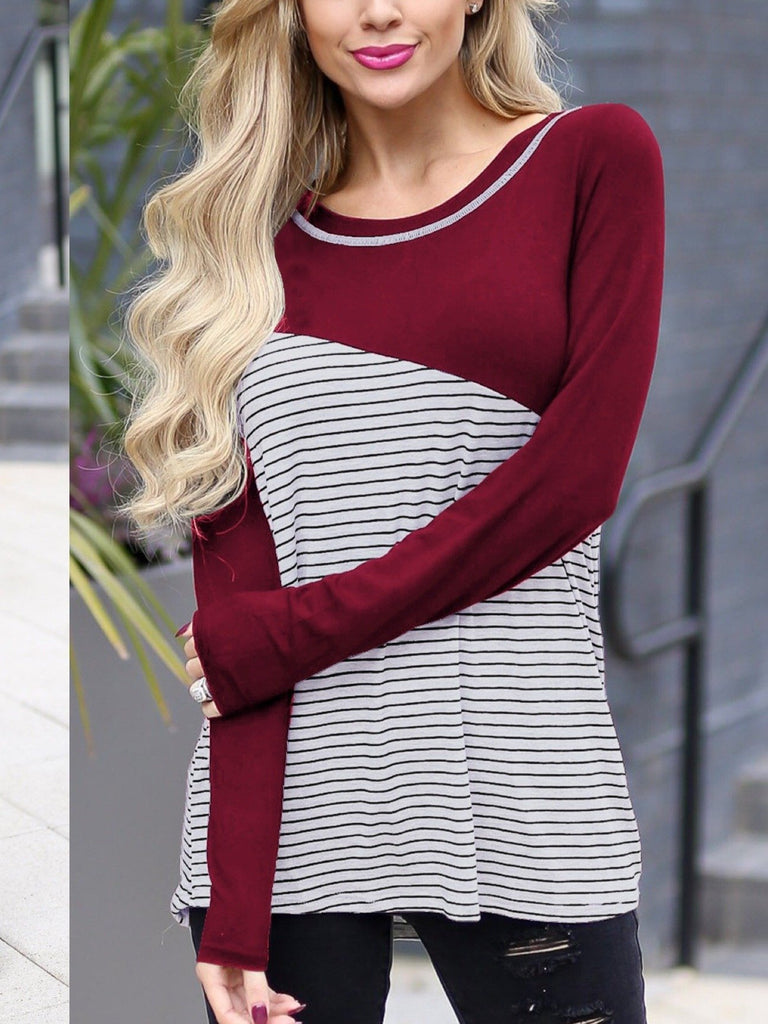 Long Sleeve Striped Stitching Tops T-shirts