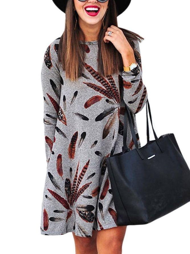 Chic Printed Long Sleeve Tunic Dress With Pockets