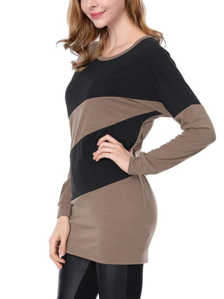 Women's Long Sleeve Splicing Long Style Tops S - XXXXL