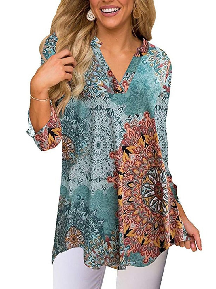 Women's Chic Printed V-neck 3/4 Long Sleeve Tops Blouse