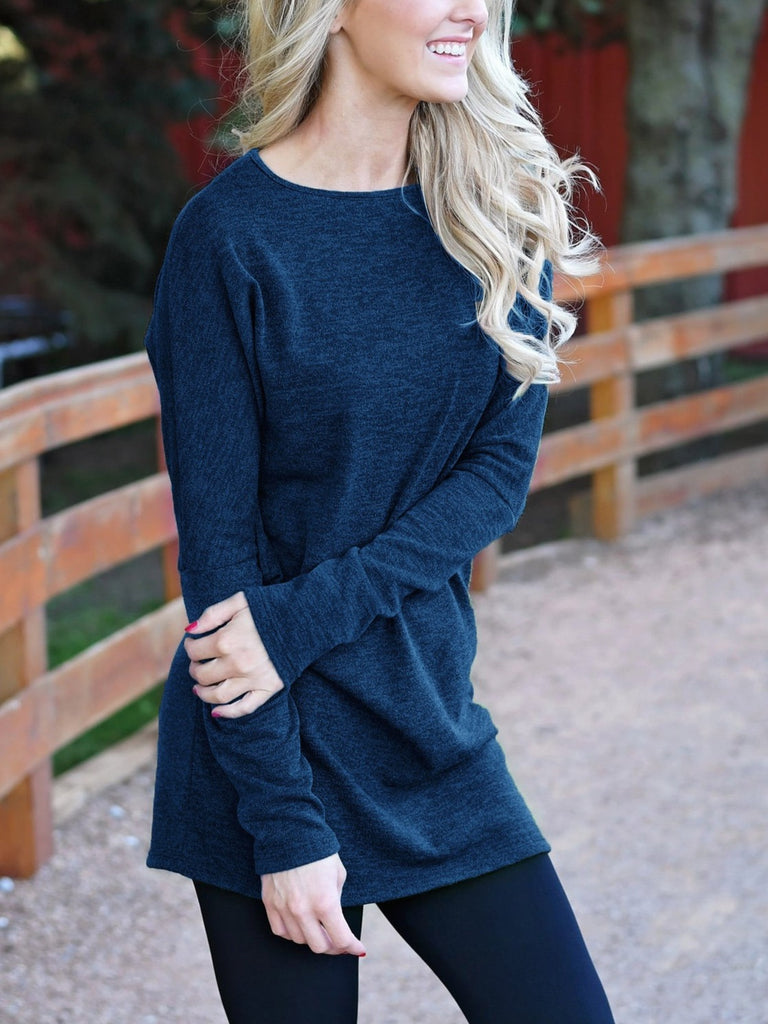 Women's Autumn Winter Fashion Knitted Long Sleeve O-neck Tunic Tops