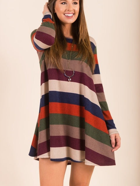 Women's Striped Long Sleeve O-neck Tunic Dress With Pockets