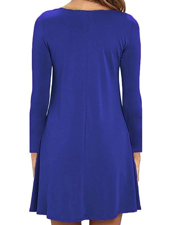 Women's Fashion Long Sleeve O-neck Tunic Dress With Pockets