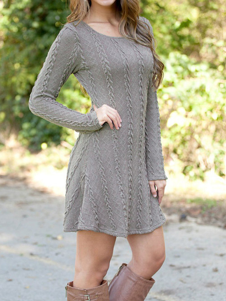 Womens Knitted Autumn Long Sleeve Round Neck Slim Swing Dress