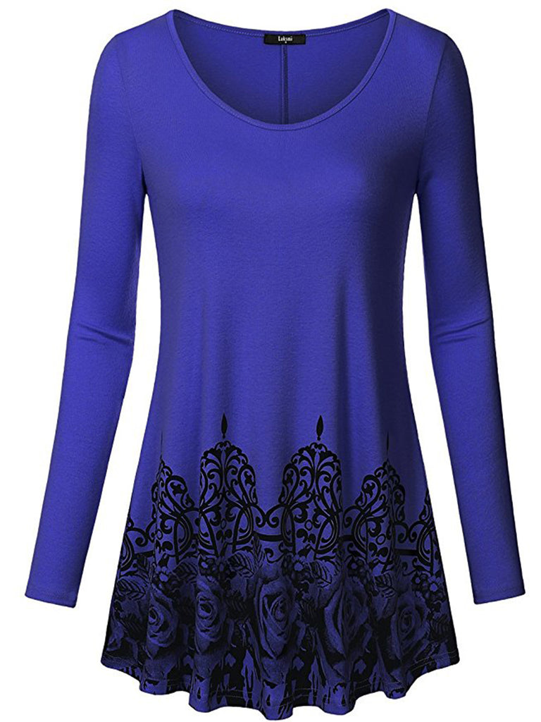 Women Casual  Printed Long Sleeve Round Neck T-shirt