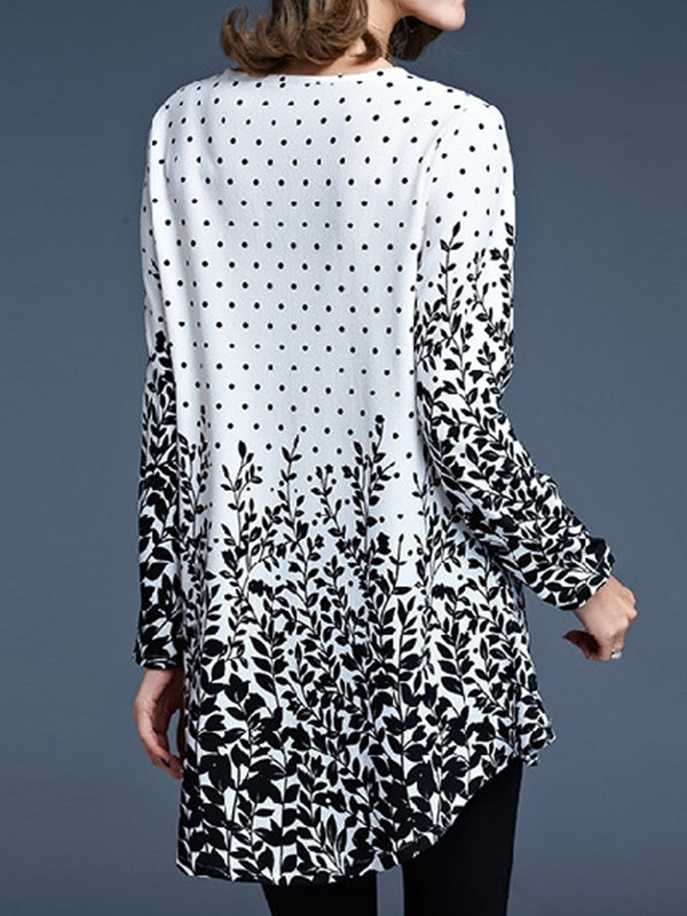Womens Long Sleeve Round Neck Flowy Printed Tunic Tops