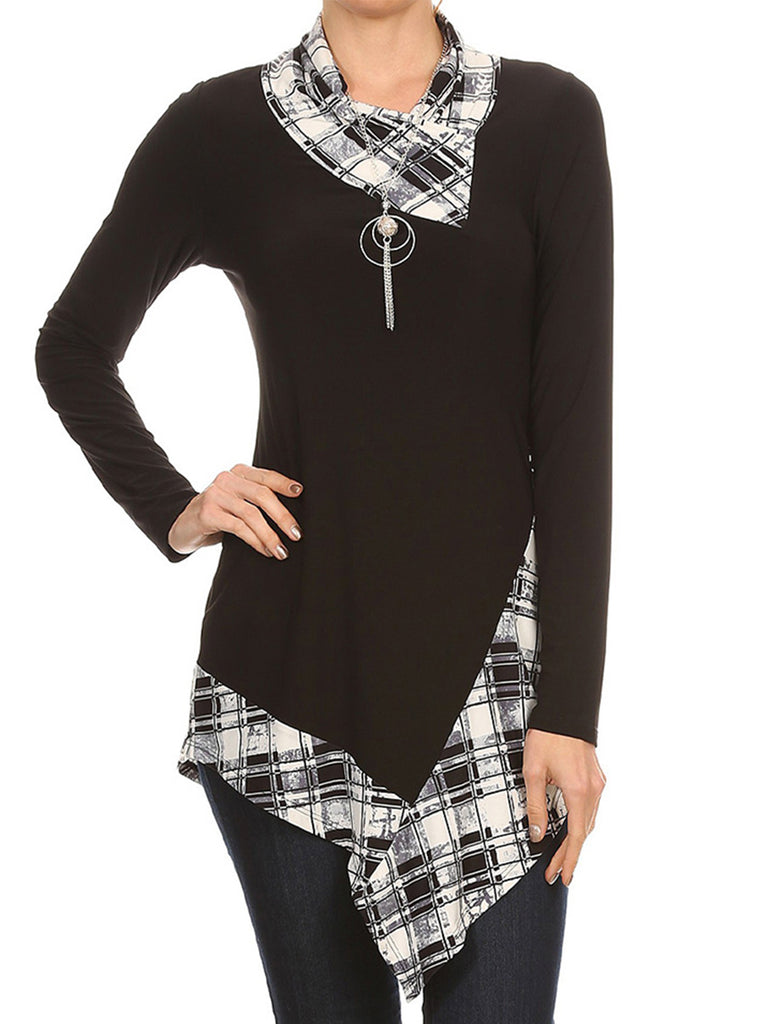 Women's Long Sleeve Asymmetrical Print T-Shirt Tunic Top