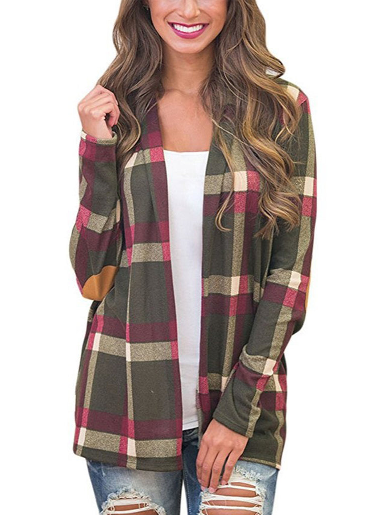 Women Spell Color Stitching Plaid Print Stylish Cardigan Overcoat