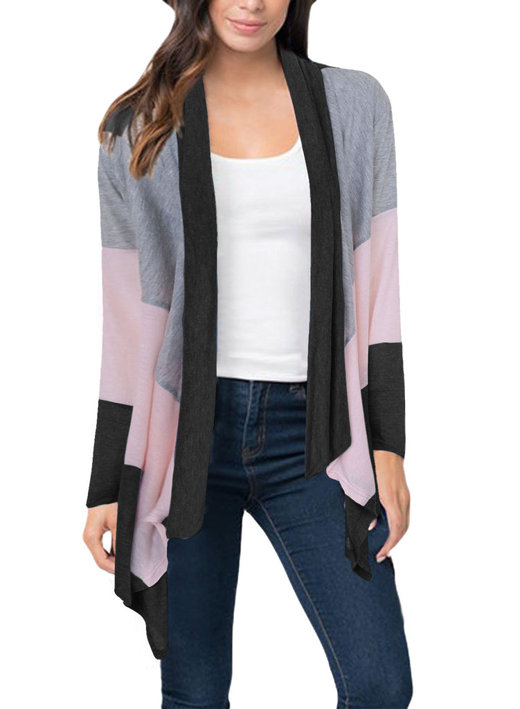 Women¡'s Casual Long Sleeve Contrast Color Open Front Thin Cardigan