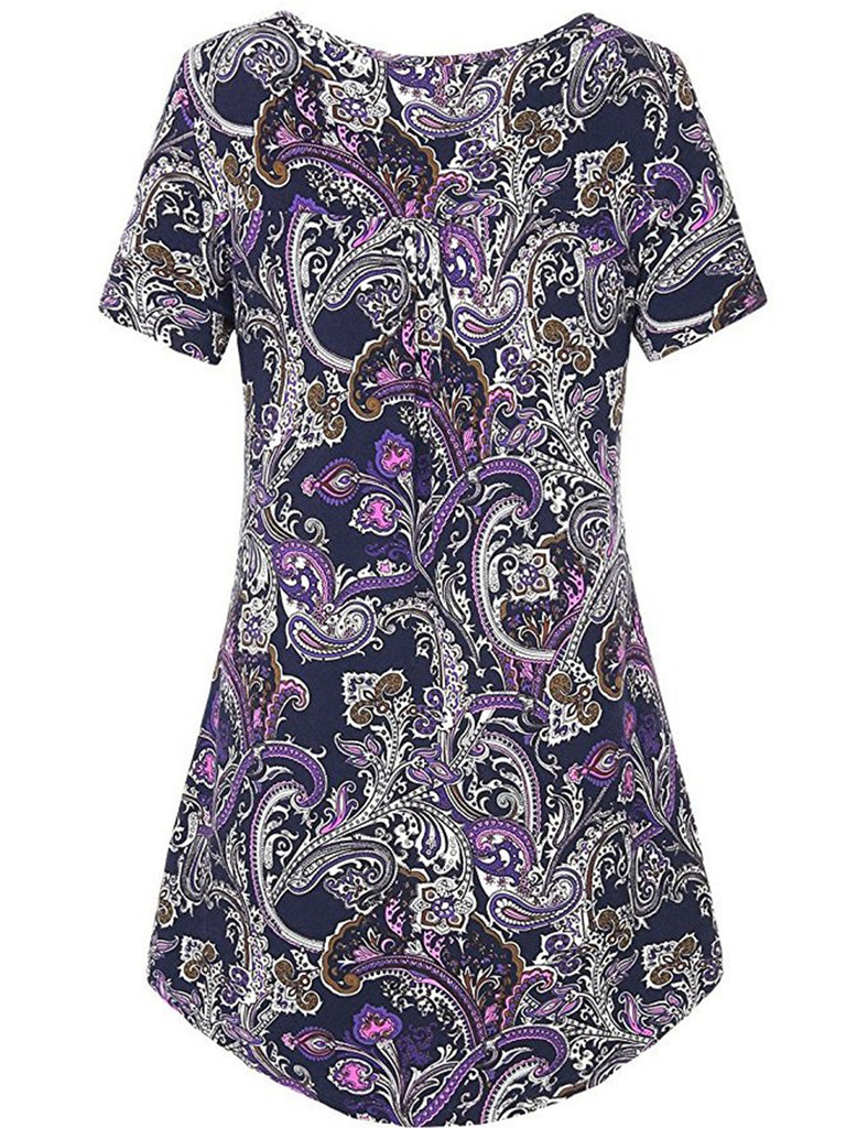 Women's Printed Basic Short-Sleeved V Neck Baggy Casual Tunic Tops
