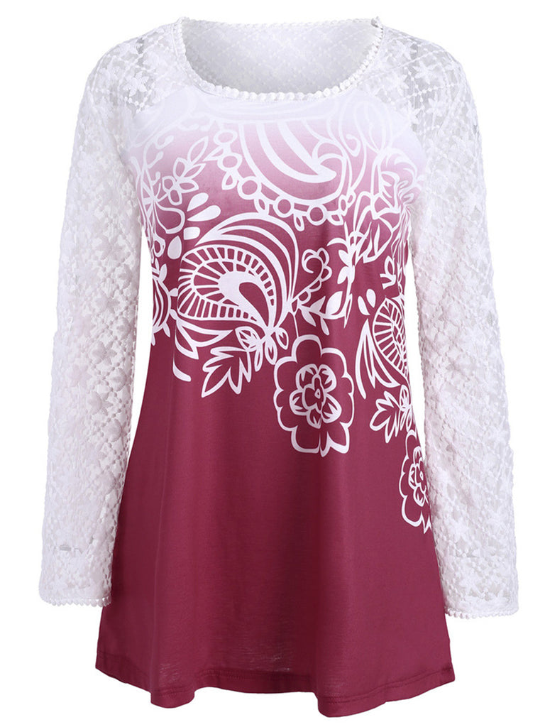 Women long-sleeves regular neck splice embroidered lace top