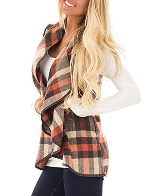 Women's Sleeveless Lapel Plaid Vests Open Front Cardigan with Pockets