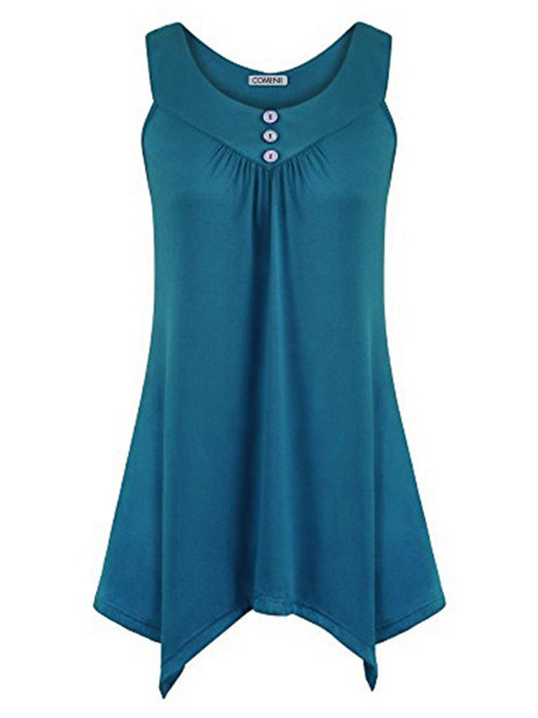 Women's Cotton Linen Sleeveless Hot Tops Swing Vest Top