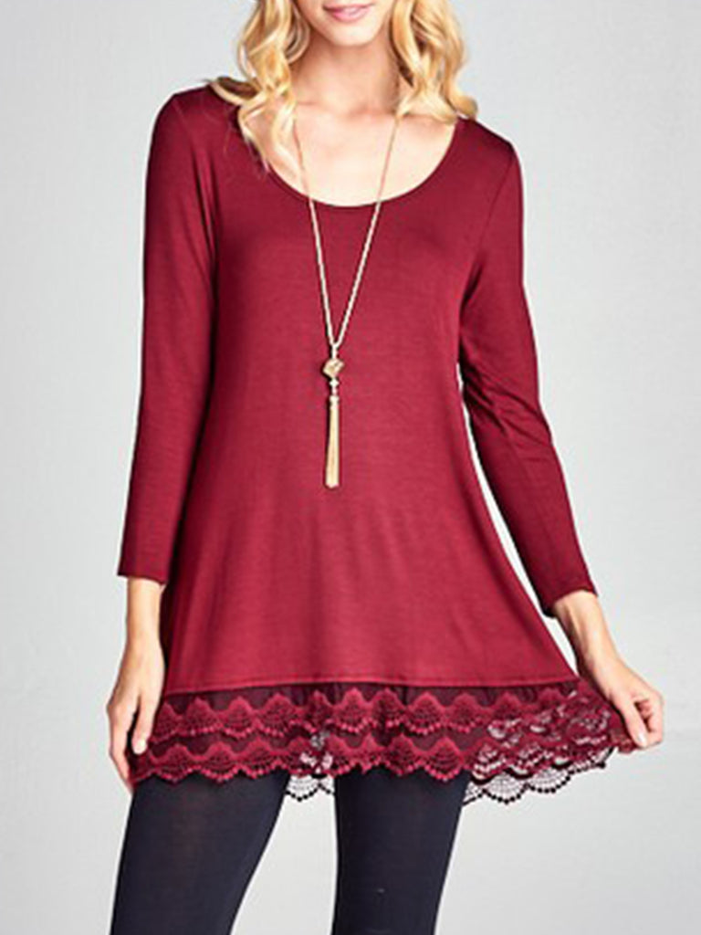 Women Lace Long Sleeve Top Loose T-Shirt Dresses Casual Lace Splice Shirt Tunic Blouse