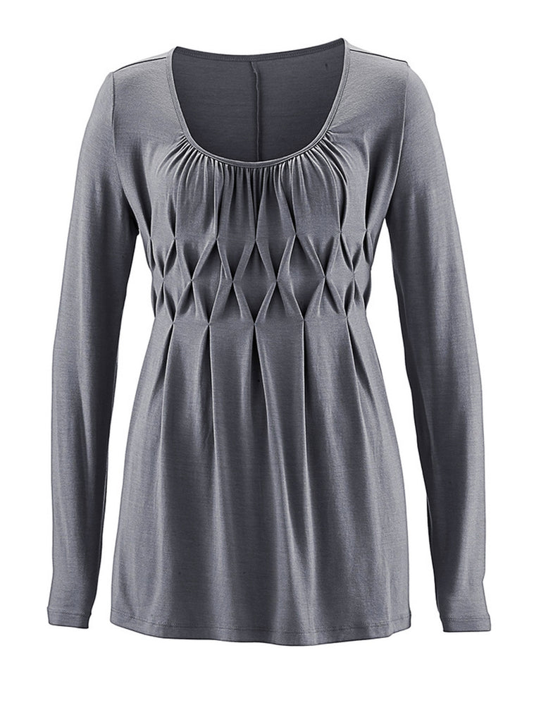 Women's O-Neck Long Sleeve Solid Color Slim Fit Casual Blouse Tops